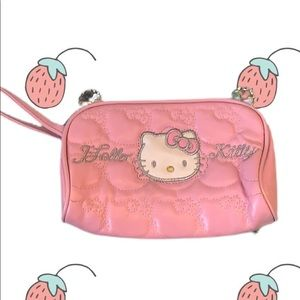 Y2K quilted hello kitty makeup bag